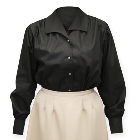 Steampunk Ladies Black Cotton Solid Point Collar Blouse | Gothic | Pirate | LARP | Cosplay | Retro | Vampire || Lenora Blouse - Black