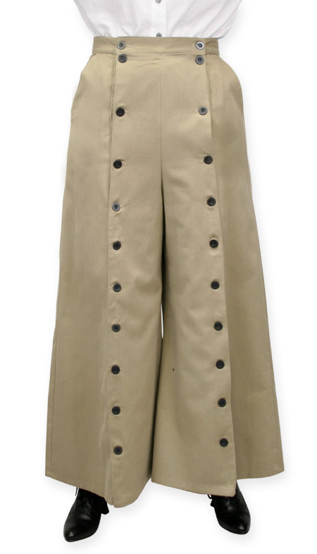 Steampunk Ladies Brown,Tan Cotton Solid Work Skirts,Riding Pants | Gothic | Pirate | LARP | Cosplay | Retro | Vampire || Brushed Twill Convertible Riding Skirt - Tan