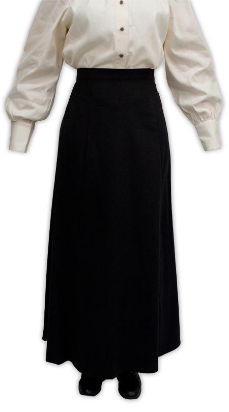 Steampunk Ladies Black Cotton Solid Work Skirt   Gothic   Pirate   LARP   Cosplay   Retro   Vampire    Brushed Twill Gibson Girl Skirt - Black