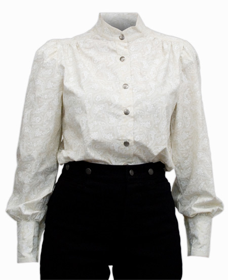 Vintage Ladies White Cotton Paisley Band Collar Blouse | Romantic | Old Fashioned | Traditional | Classic || Jennie Blouse - White
