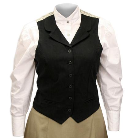 Wedding Ladies Black Cotton Solid Notch Collar Dress Vest   Formal   Bridal   Prom   Tuxedo    Ladies Brushed Twill Vest - Black