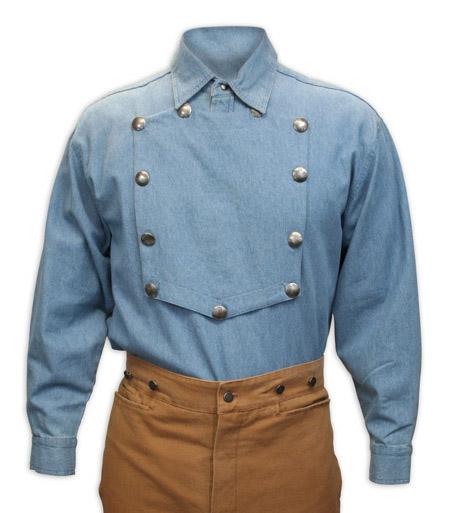 Steampunk Mens Blue Cotton Solid Point Collar Bib Shirt | Gothic | Pirate | LARP | Cosplay | Retro | Vampire || Engineer Bib Shirt - Blue