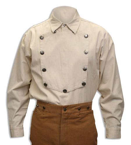Steampunk Mens Ivory Cotton Solid Point Collar Bib Shirt | Gothic | Pirate | LARP | Cosplay | Retro | Vampire || Engineer Bib Shirt - Natural