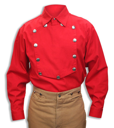 1800s Mens Red Cotton Solid Point Collar Bib Shirt | 19th Century | Historical | Period Clothing | Theatrical || Engineer Bib Shirt - Red