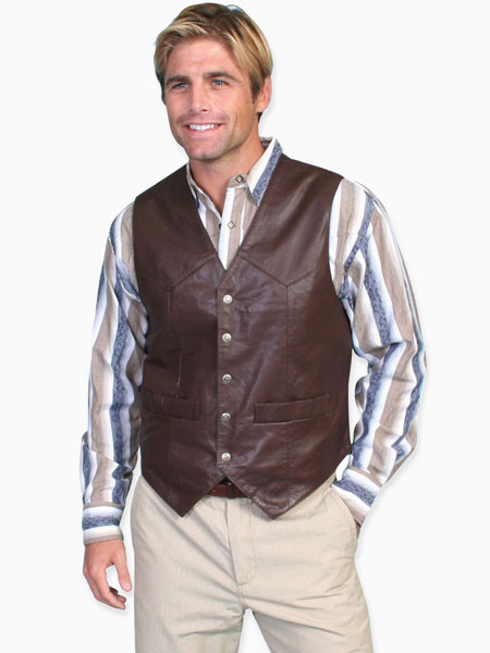 1800s Mens Brown Leather Solid No Collar Leather Vest | 19th Century | Historical | Period Clothing | Theatrical || Snap Front Vest - Soft Touch Lamb Leather - Brown