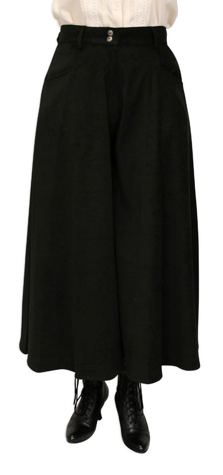 Steampunk Ladies Black Solid Work Pants | Gothic | Pirate | LARP | Cosplay | Retro | Vampire || Riding Pants - Black