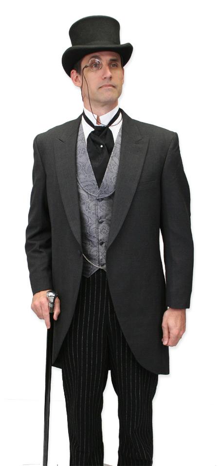 Victorian Mens Gray Paisley Shawl Collar Dress Vest | Dickens | Downton Abbey | Edwardian || Putnam Vest - Gray