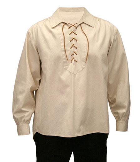 Steampunk Mens Ivory Cotton Solid Point Collar Work Shirt   Gothic   Pirate   LARP   Cosplay   Retro   Vampire    Skinner Work Shirt - Natural