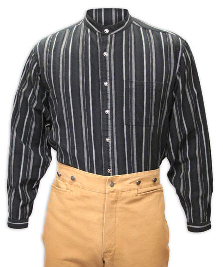 1800s Mens Black Cotton Stripe Band Collar Work Shirt | 19th Century | Historical | Period Clothing | Theatrical || Lawman Stripe Shirt - Black