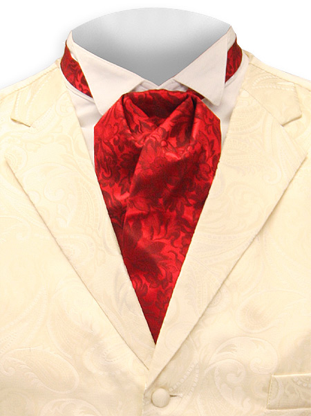 Wedding Mens Red Silk Floral Puff Tie | Formal | Bridal | Prom | Tuxedo || Silk Puff Tie - Red