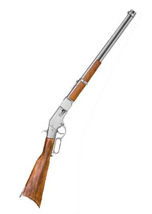 Wedding Mens Silver Alloy Replica Weapon | Formal | Bridal | Prom | Tuxedo || Replica Winchester 1866 Saddle Ring Carbine, Antique Gray