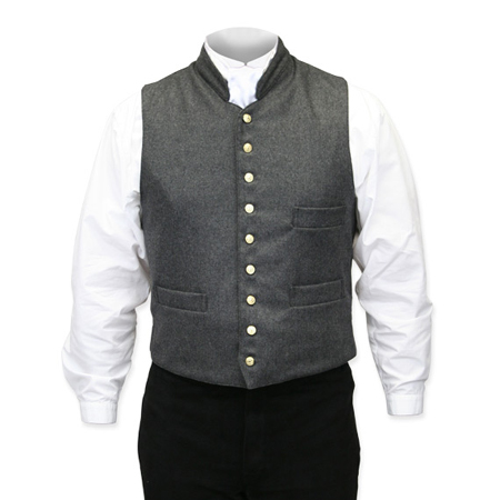 Victorian Mens Gray Wool Solid Stand Collar Dress Vest | Dickens | Downton Abbey | Edwardian || Fitzwilliam Wool Vest