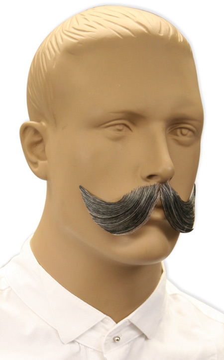 Vintage Mens Gray Natural Mustache | Romantic | Old Fashioned | Traditional | Classic || Elegant Mustache - Gray
