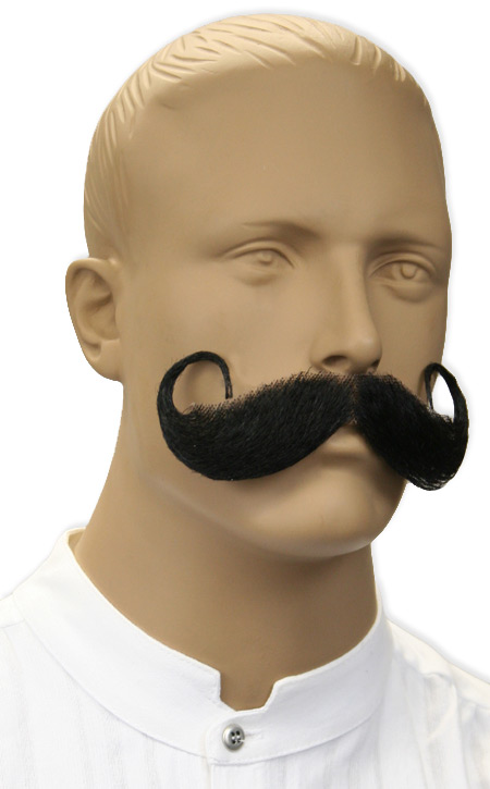Victorian Mens Black Natural Mustache | Dickens | Downton Abbey | Edwardian || Handlebar Mustache - Black