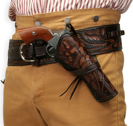 Western Holster - RH Cross-Draw - Two-Tone Brown Tooled Leather