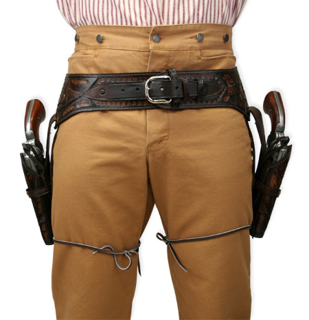 Vintage Mens Brown Leather Tooled Gunbelt Holster Combo | Romantic | Old Fashioned | Traditional | Classic || (.44/.45 cal) Western Gun Belt and Holster - Double - Two-Tone Brown Tooled Leather
