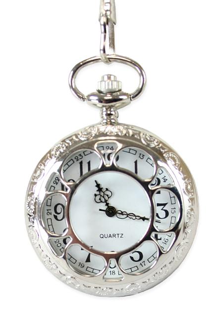 Wedding Mens Silver Alloy Quartz Watch | Formal | Bridal | Prom | Tuxedo || Silver Sprockets Pocket Watch