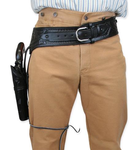 ( 44/ 45 cal) Western Gun Belt and Holster - RH Draw (Long Barrel) - Black  Tooled Leather