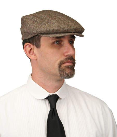 Steampunk Mens Brown Tweed,Wool Blend Cap | Gothic | Pirate | LARP | Cosplay | Retro | Vampire || Ivy Cap - Brown Wool Tweed