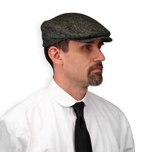 Steampunk Mens Gray Tweed,Wool Blend Cap | Gothic | Pirate | LARP | Cosplay | Retro | Vampire || Ivy Cap - Gray Wool Tweed