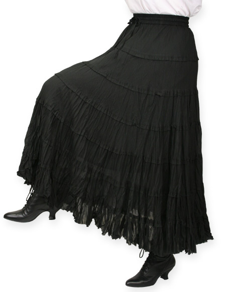 1800s Ladies Black Cotton Solid Work Skirt | 19th Century | Historical | Period Clothing | Theatrical || Marisol Prairie Skirt - Black
