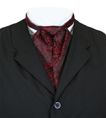 Wedding Mens Red Print Puff Tie   Formal   Bridal   Prom   Tuxedo    Satin Puff Tie - Red - Drake
