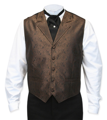 Wedding Mens Brown Paisley Notch Collar Dress Vest | Formal | Bridal | Prom | Tuxedo || Klondike Vest - Brown