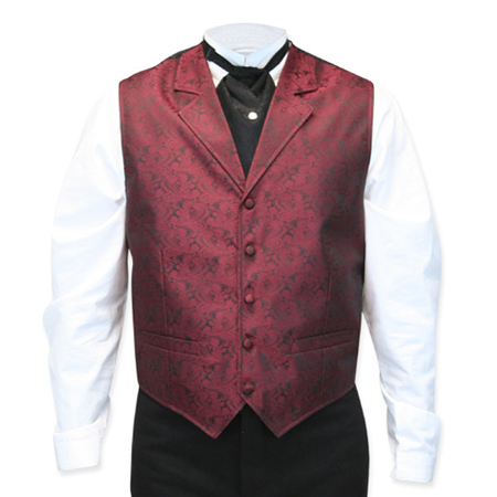 Wedding Mens Burgundy Paisley Notch Collar Dress Vest | Formal | Bridal | Prom | Tuxedo || Klondike Vest - Burgundy