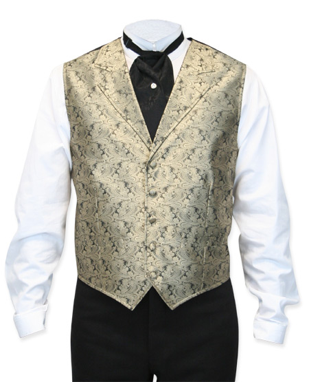 Victorian Mens Gold Paisley Notch Collar Dress Vest | Dickens | Downton Abbey | Edwardian || Klondike Vest - Gold