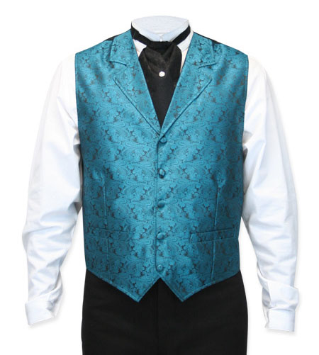 Steampunk Mens Blue Paisley Notch Collar Dress Vest | Gothic | Pirate | LARP | Cosplay | Retro | Vampire || Klondike Vest - Teal