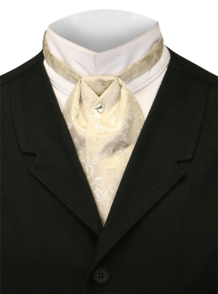 Wedding Mens Ivory,Tan Paisley Puff Tie | Formal | Bridal | Prom | Tuxedo || Satin Puff Tie - Cream Spencer