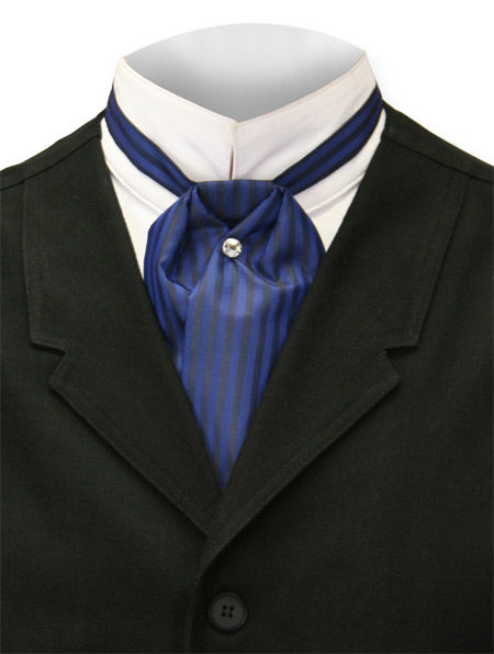 Victorian Mens Blue Stripe Puff Tie | Dickens | Downton Abbey | Edwardian || Satin Puff Tie - Royal Comstock