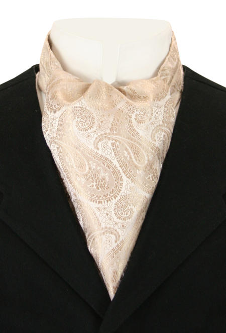 Victorian Mens Brown Paisley Ascot | Dickens | Downton Abbey | Edwardian || Tonal Paisley Ascot - Taupe