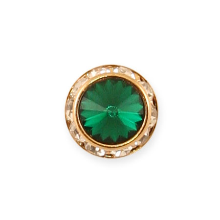 Steampunk Mens Green Metal Tie Tack | Gothic | Pirate | LARP | Cosplay | Retro | Vampire || Gold Faceted Tie Tack - Emerald