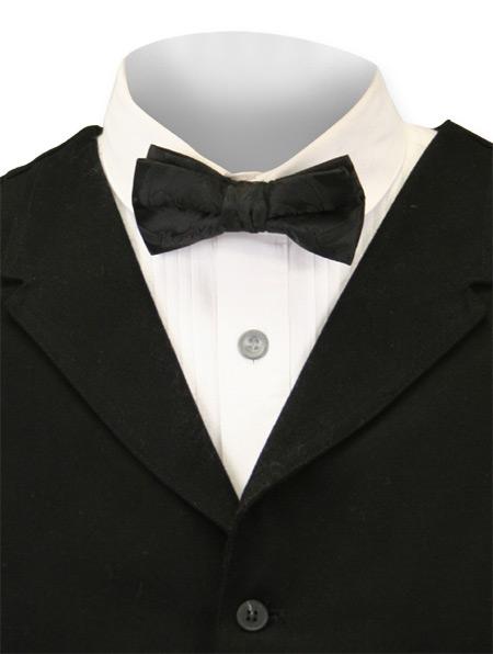 Wedding Mens Black Paisley Bow Tie | Formal | Bridal | Prom | Tuxedo || Bow Tie - Black Paisley