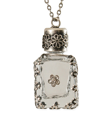 Vintage Ladies Silver Alloy Necklace | Romantic | Old Fashioned | Traditional | Classic || Charm Necklace - Antique Silver with Clear Perfume Vial
