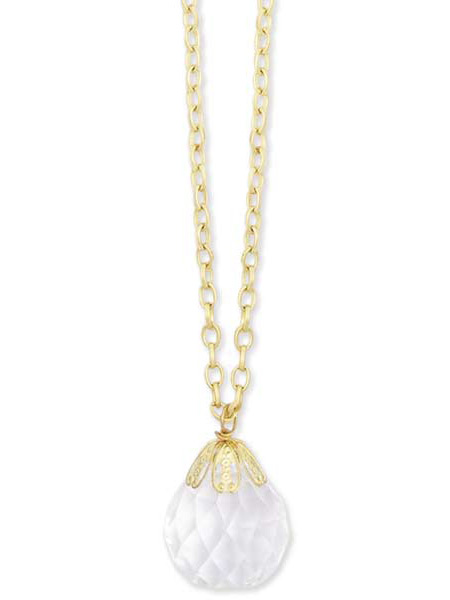 Charm Necklace - 40in. Gold tone w Ball Pendant