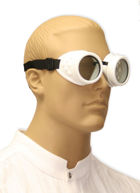 Victorian Mens White,Clear Plastic Goggles | Dickens | Downton Abbey | Edwardian || White Mad Science Goggles - Clear Lens
