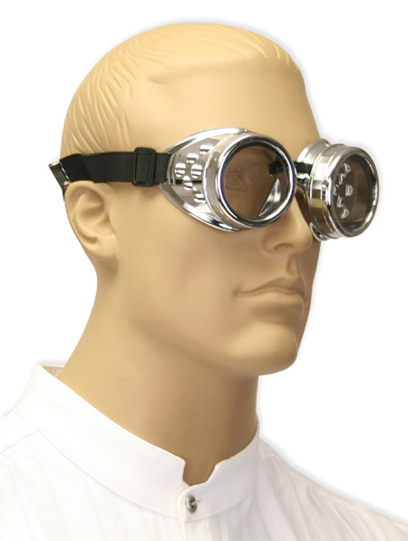 Steampunk Mens Silver Plastic Goggles | Gothic | Pirate | LARP | Cosplay | Retro | Vampire || Chromed Mad Science Goggles - Clear Lens