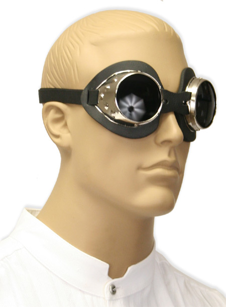 1800s Mens Silver Alloy Goggles | 19th Century | Historical | Period Clothing | Theatrical || Conspicuous Oculus Goggles - Chrome