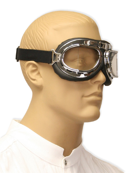 1800s Mens Silver,Clear,Black Plastic Goggles | 19th Century | Historical | Period Clothing | Theatrical || RAF Style Ace Flying Goggles - Clear Lens