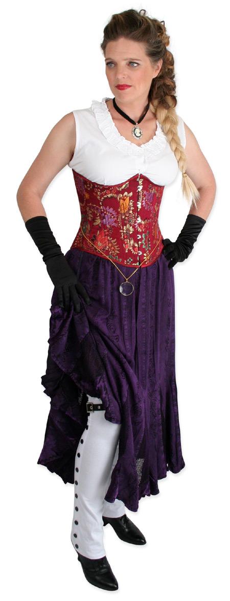 Steampunk Ladies Purple Floral Work Skirt | Gothic | Pirate | LARP | Cosplay | Retro | Vampire || Swirl Skirt - Violet