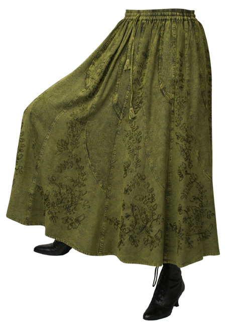 1800s Ladies Green Floral Work Skirt | 19th Century | Historical | Period Clothing | Theatrical || Swirl Skirt - Forest Green
