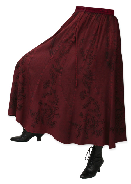 Vintage Ladies Burgundy Floral Work Skirt | Romantic | Old Fashioned | Traditional | Classic || Swirl Skirt - Burgundy