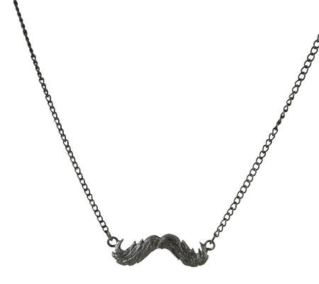 Mustache Charm Necklace, Burnished Silver