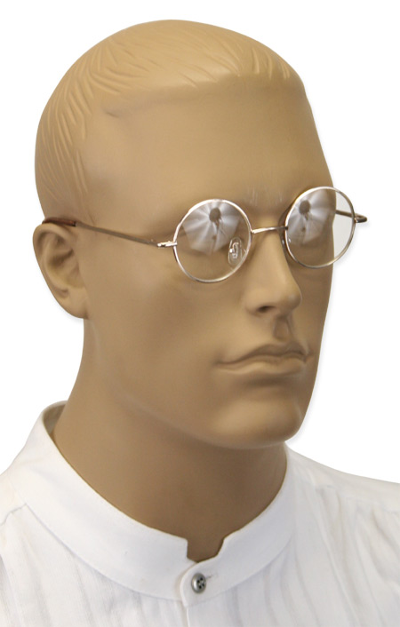 Victorian Mens Gold,Clear Alloy,Plastic Spectacles | Dickens | Downton Abbey | Edwardian || Common Spectacles - Gold Frames