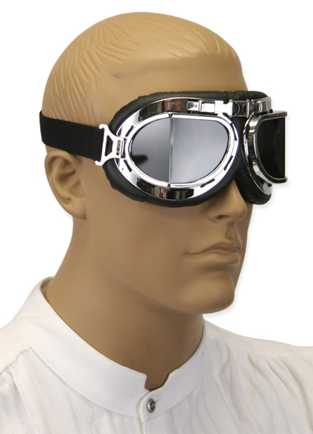 1800s Mens Silver Plastic Goggles | 19th Century | Historical | Period Clothing | Theatrical || RAF Style Ace Flying Goggles - Smoke Lens