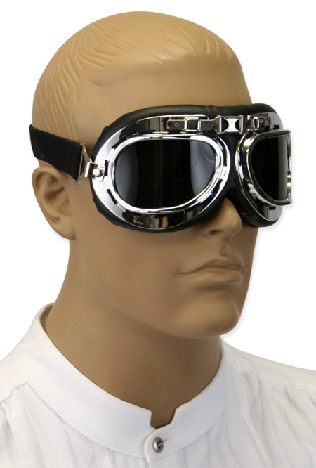 Vintage Mens Silver Plastic Goggles | Romantic | Old Fashioned | Traditional | Classic || RAF Style Flyboy Flying Goggles - Smoke Lens