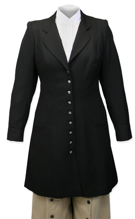 Vintage Ladies Black Wool Solid Notch Collar Frock Coat | Romantic | Old Fashioned | Traditional | Classic || Ladies Wool Crepe Frock Coat - Black