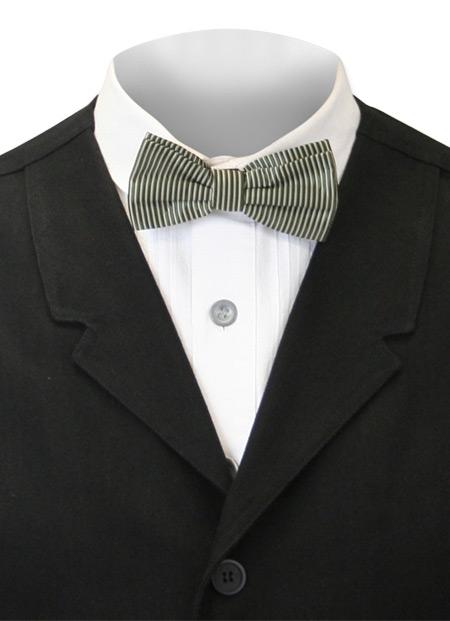Steampunk Mens Green Stripe Bow Tie | Gothic | Pirate | LARP | Cosplay | Retro | Vampire || Bow Tie - Confectionery Stripe - Green / White